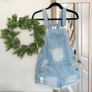 Cotton on denim short overalls size 8